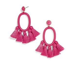 BaubleBar Tassel Oval Hoop Earrings PINK